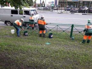 Работы по покраске и мытью ограждений и остановочных павильонов